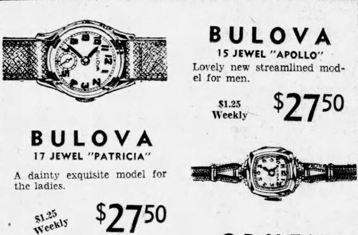 Bulova watches 1942 Apollo and Patricia advert