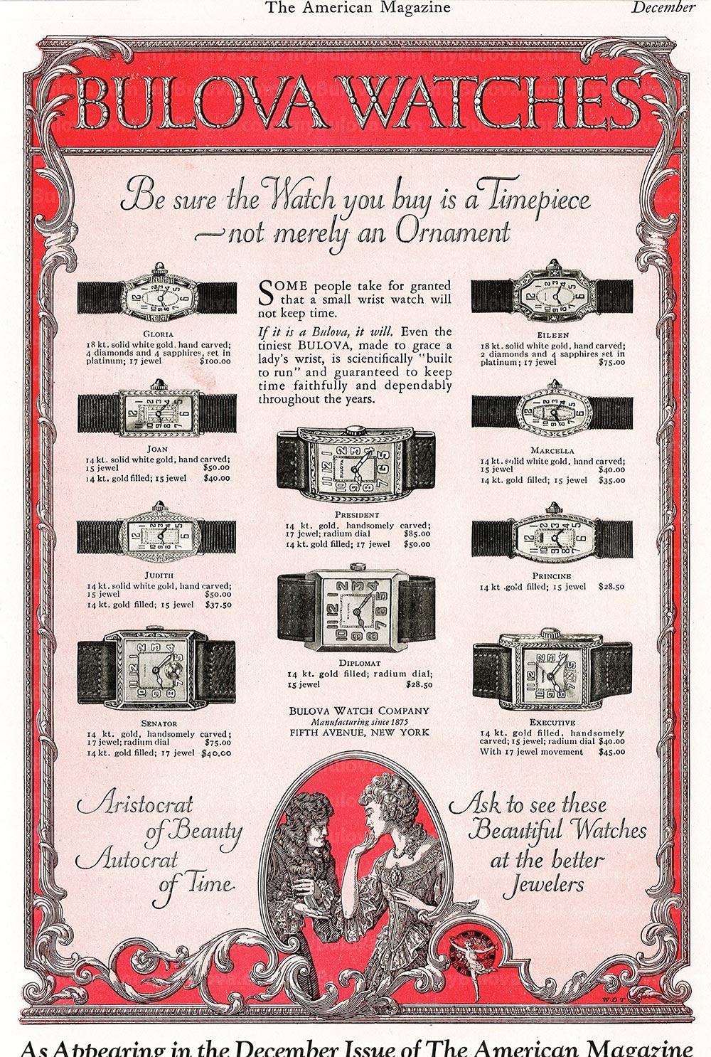 1925 Vintage Bulova Ad
