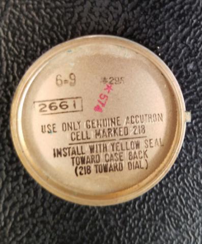 1969 Bulova Accutron Watch Inside Case