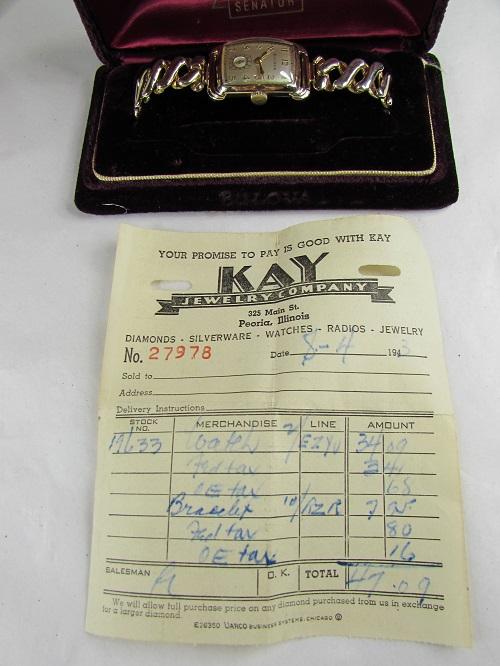 1943 Senator Bulova Gold color watch sales receipt