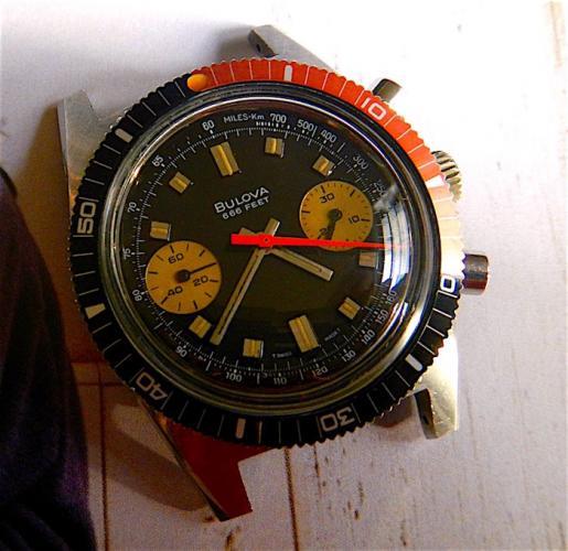 "1973 Bulova Deep Sea Chronograph 666 feet "" B """