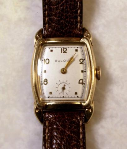 """1954 Bulova Ambassador """"B"""" watch with water buffalo straps"""